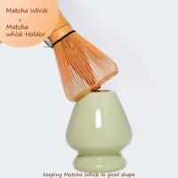 Green Matcha Whisk Holder Set w/ Bamboo Whisk Scoop