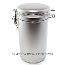 Silver Tea Tin w/ Latch Cover